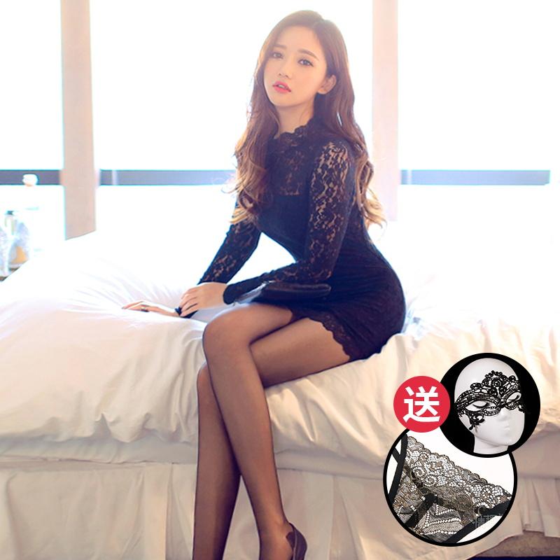 柠檬物语性感情趣内衣女士黑色蕾丝激情透视钢管短裙制服紧身套装