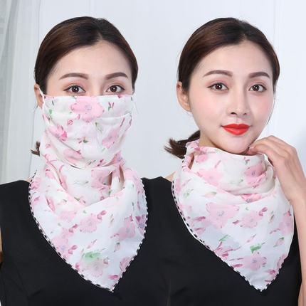 夏季两用百变小丝巾女薄围巾挂耳式护颈口罩防晒面纱三角围脖一体