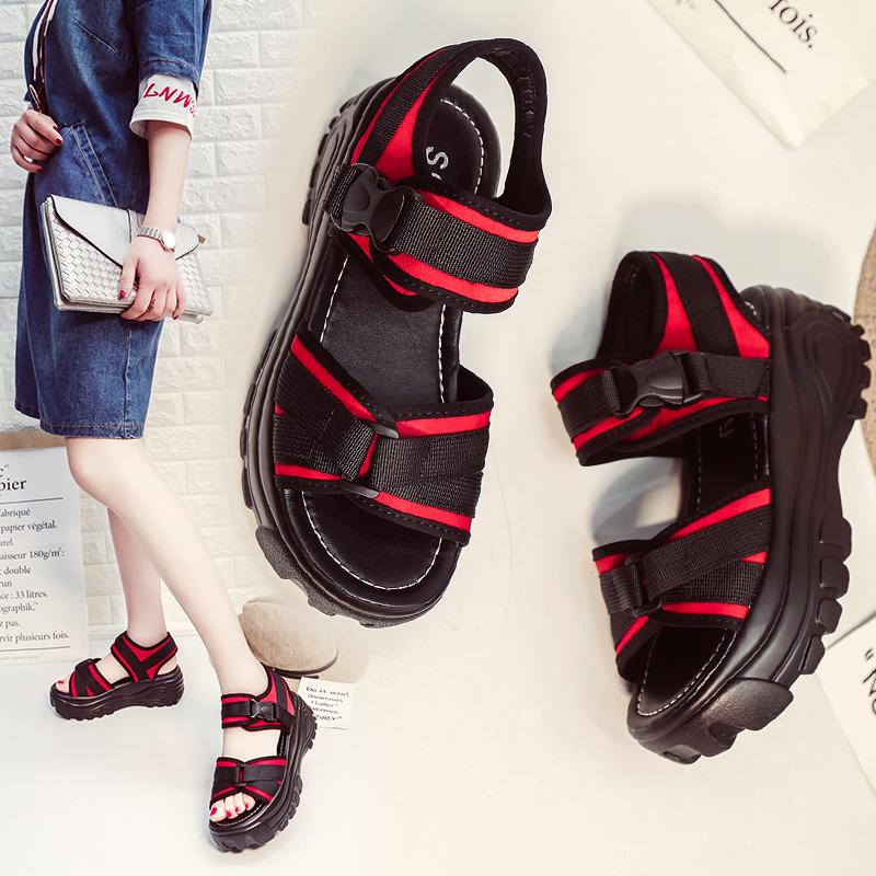 满123.00元可用83.1元优惠券新款夏季女士厚底增高凉鞋时尚运动休闲韩版沙滩鞋百搭松糕底凉鞋