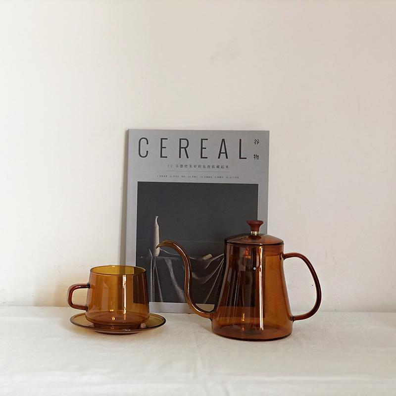 「About Life」复古深琥珀色下午茶耐热玻璃杯咖啡壶杯套装手冲壶