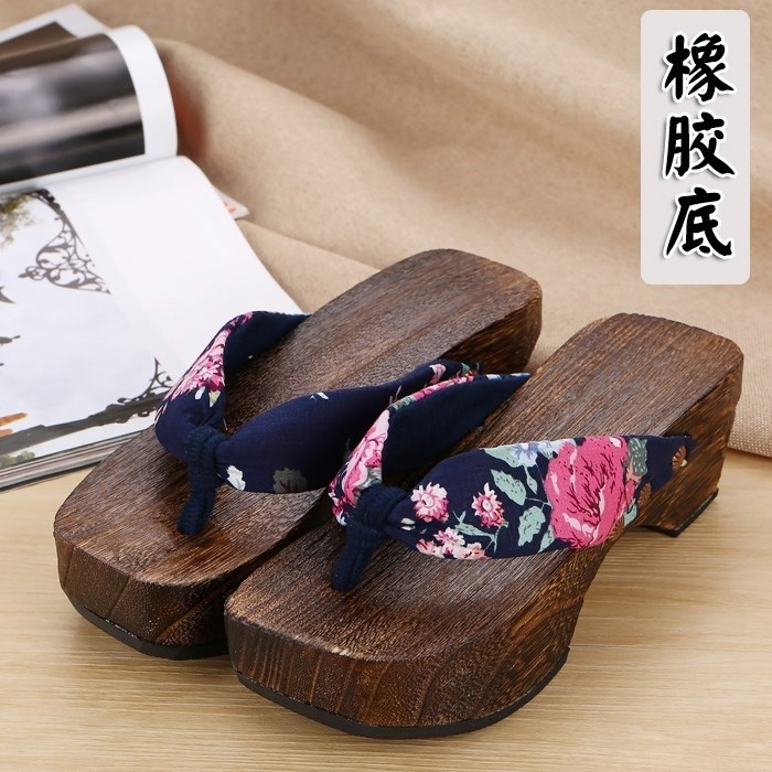 汉木屐女式儿童桃花单妖袜子和风齿情侣日式少女阴阳师火影漆厚底