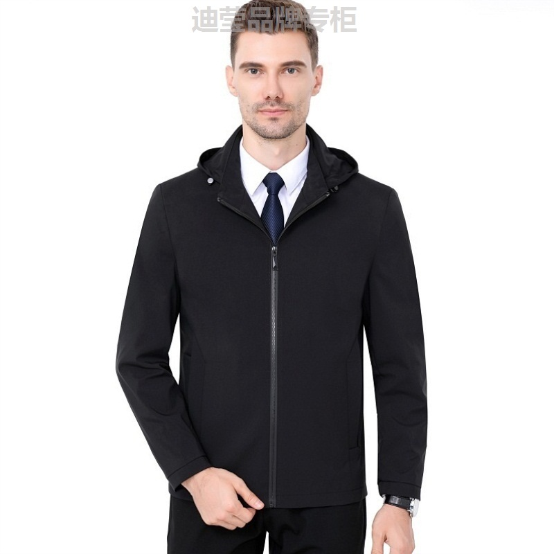 Formal jacket mens middle-aged and young mens hooded loose oversized jacket mens coat work mens success man