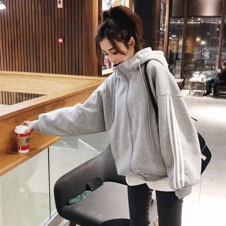Autumn and winter Korean Edition large size 200jin loose high collar Hooded Coat womens Plush sweater bomber cardigan