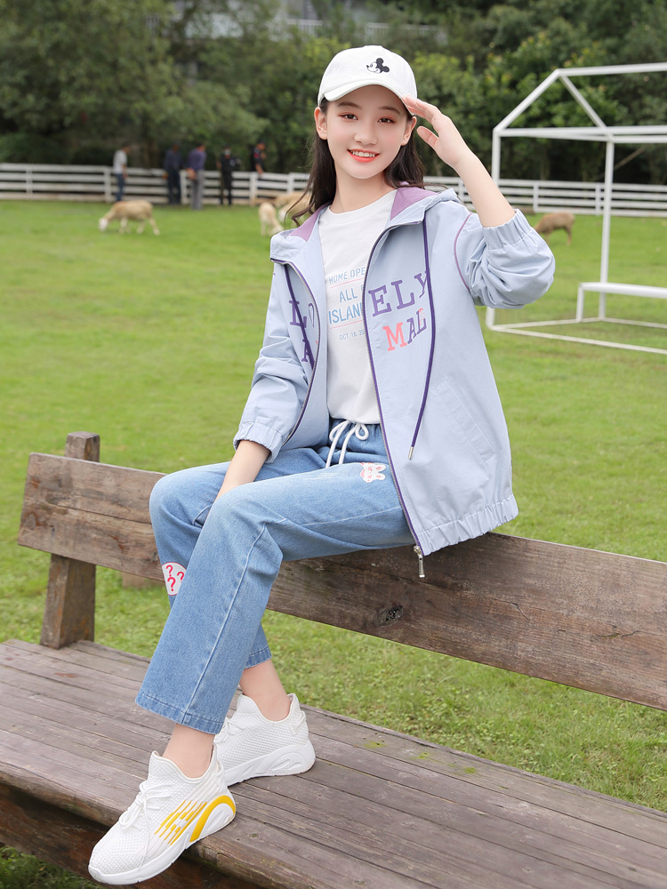 Casual coat student spring and autumn school girl junior high school Forest Department hooded sports versatile loose cardigan jacket