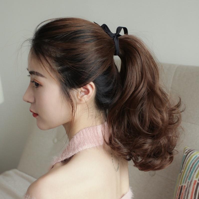 真发马尾可卷发假发尾辫子绑带式隐形自然真人中长发短假马尾女