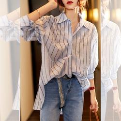 素木洋气条纹衬衫女设计感小众欧洲站女装中长款防晒上衣薄外套秋