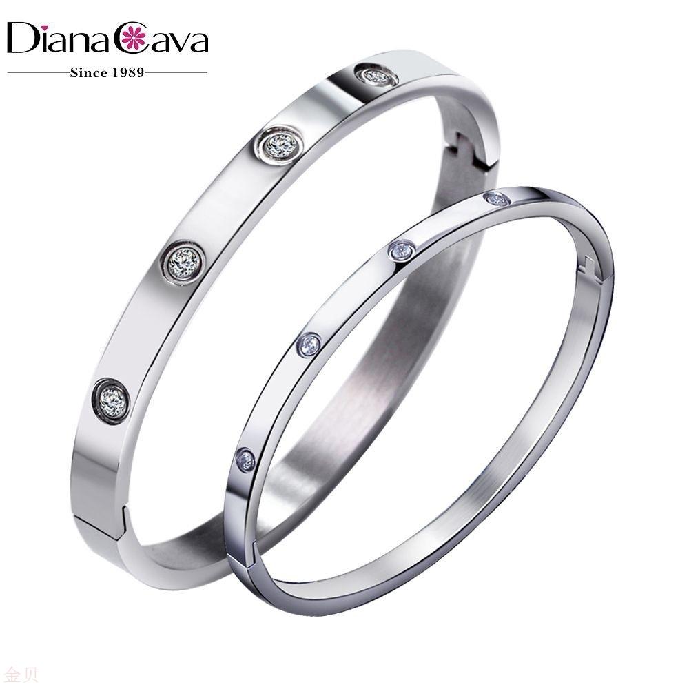 Korean love eternal ring titanium steel zircon couple Bracelet Stainless steel buckle bracelet Amazon explosion
