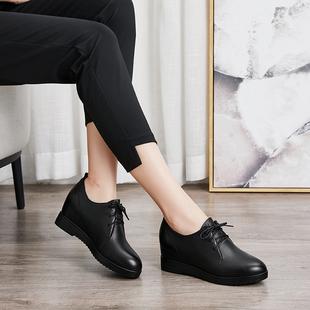内增高女鞋秋季女2020新款坡跟百搭休闲圆头真皮单鞋女系带小皮鞋