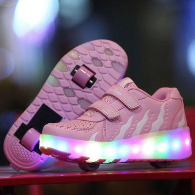 双轮暴走鞋男童学生超轻闪灯溜冰鞋儿童成人自动隐形按钮滑轮鞋女