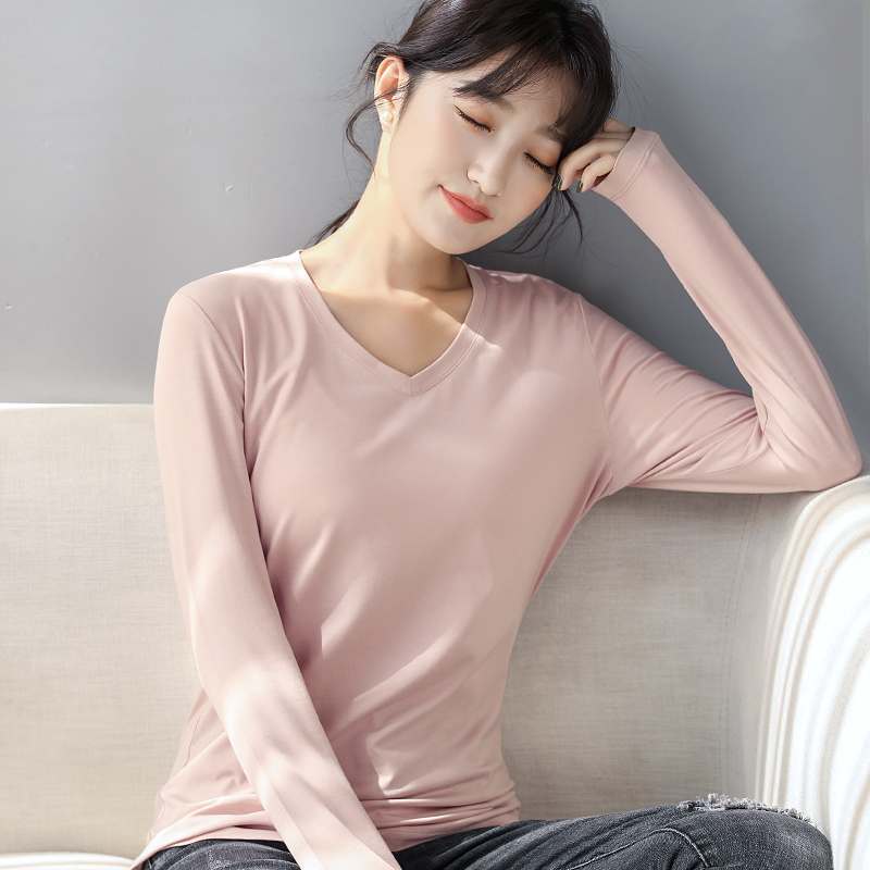 Fall 2020 new T-shirt womens long sleeve modal V-neck bottoming top slim solid top with casual T-shirt