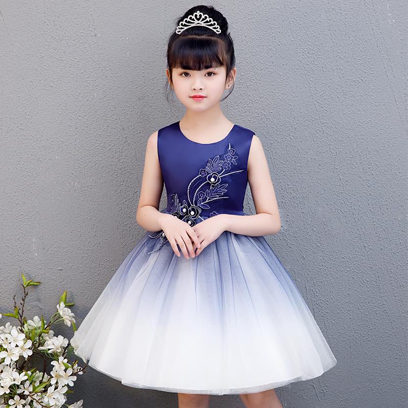 女童童裝連衣裙夏裝新款公主裙洋氣蓬蓬紗裙韓版兒童節日表演禮服