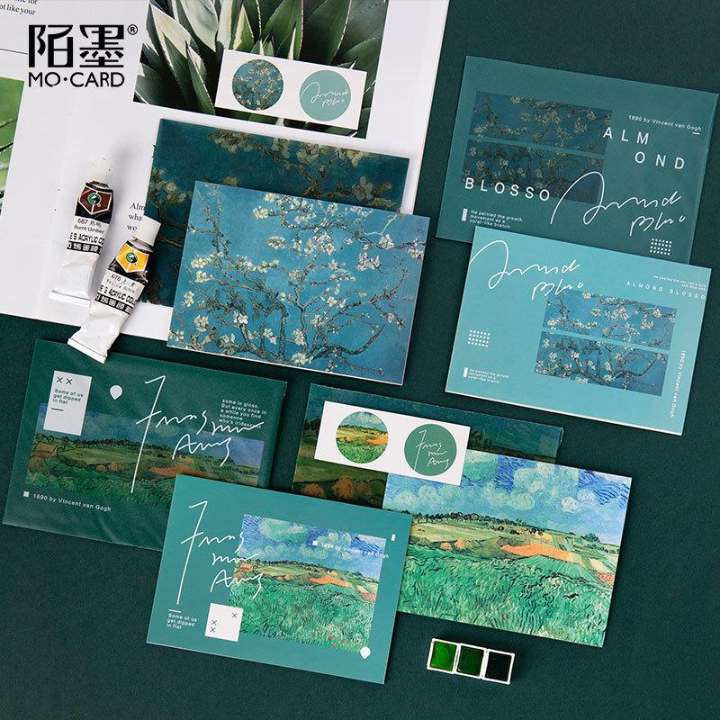 超美日系硫酸纸信封贺卡套装艺术礼物祝福留言卡生日礼物明信片
