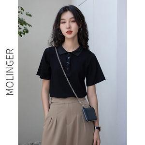 2021年新款女装黑色夏季短袖上衣夏装短款polo衫设计感小众t恤女