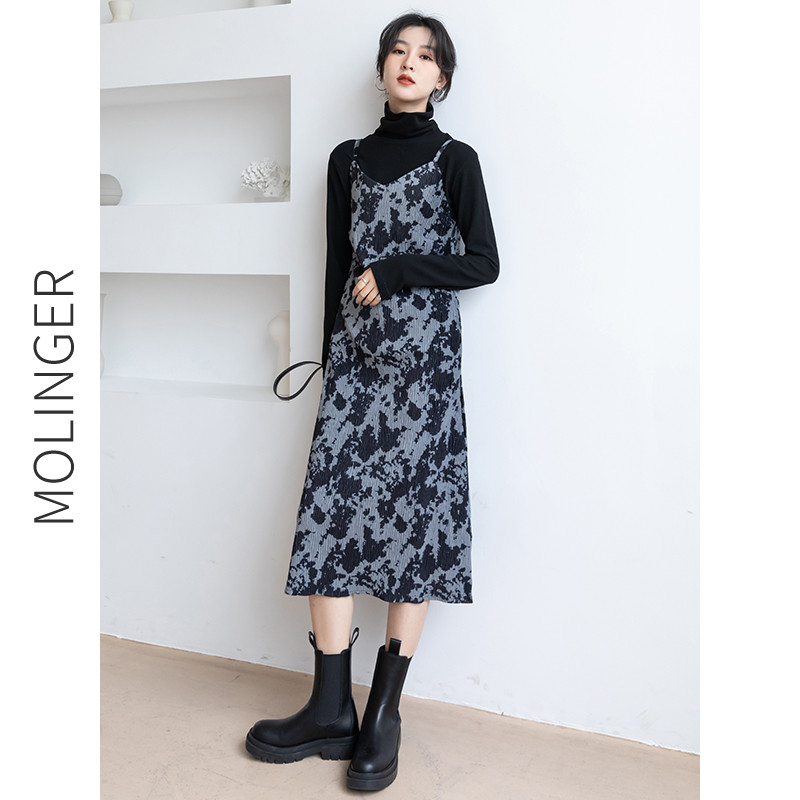 2021 new style early spring women's floral skirt French base long skirt with spring suspender dress women