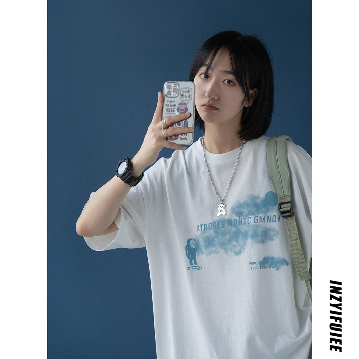 AzLan设计感小众短袖t恤女夏季2021年新款短款潮白色纯棉宽松上衣