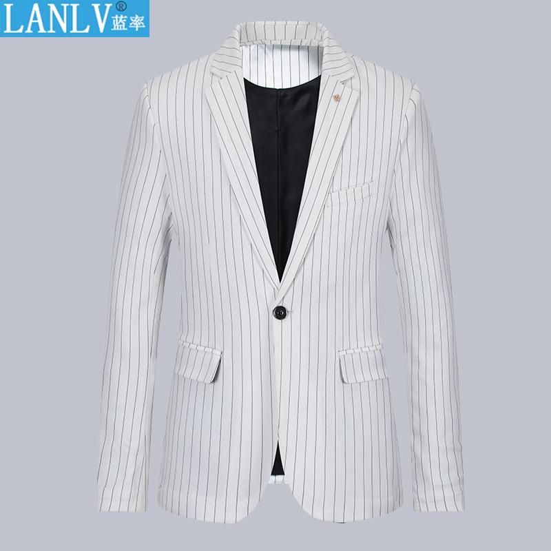 2020春夏男士西服时尚休闲西装青年修身条纹小西服单西薄款外套