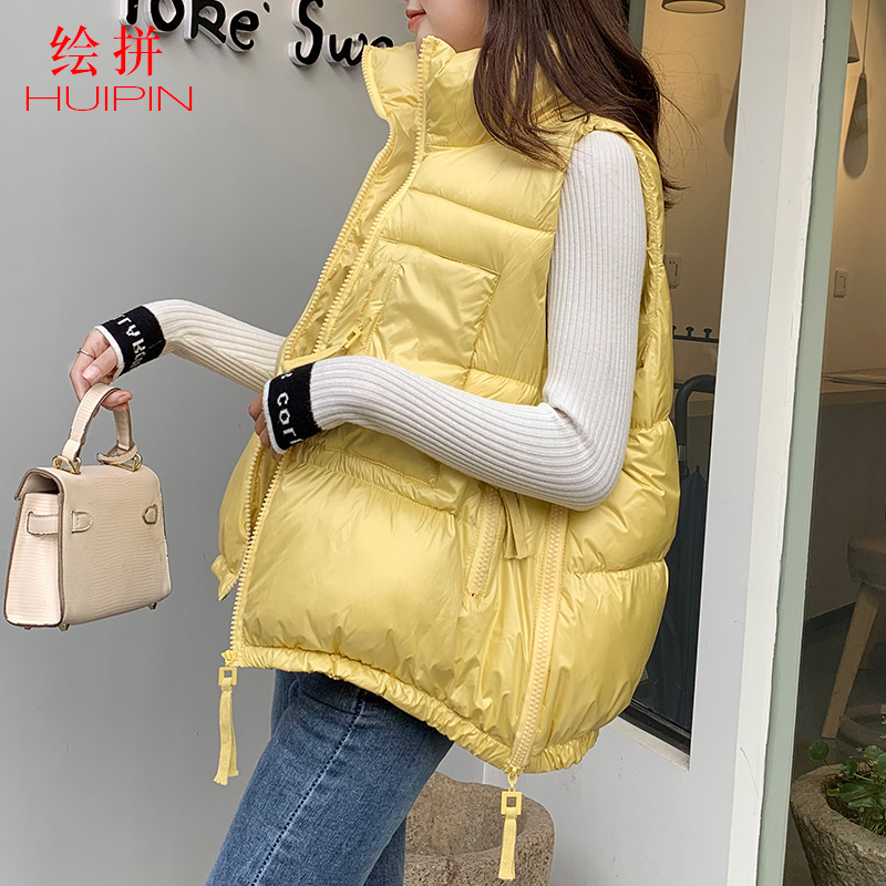 Cotton vest women's short 2020 spring and Autumn New Korean fashion down cotton yellow jacket net red bright face shoulder