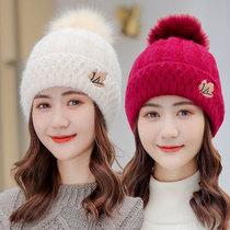 毛线帽女秋冬季百搭韩版时尚加厚加绒保暖针织棉帽女士冬天帽子潮