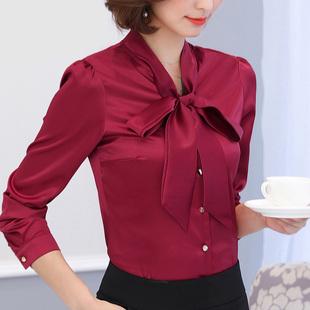 蝴蝶结衬衫女长袖雪纺衫2019秋装新款工装上衣正装职业装白色衬衣