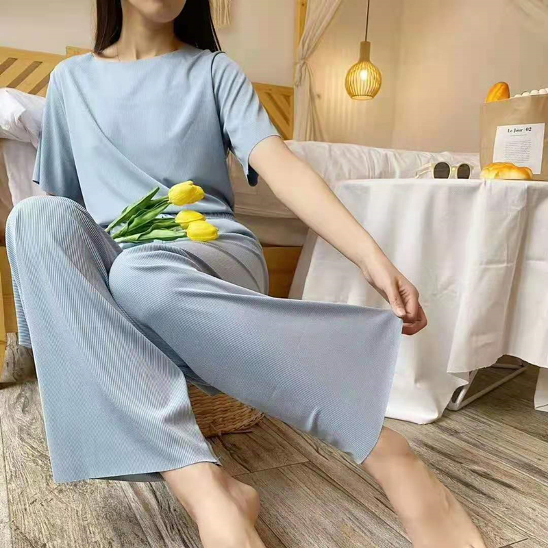 2021 trendy soft girl suit slim fit home clothes wide leg pants short sleeves age reducing thin home clothes casual women