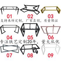 长方形可折叠正金属支架收缩便携钢制桌脚可调桌架移动桌子腿黑色
