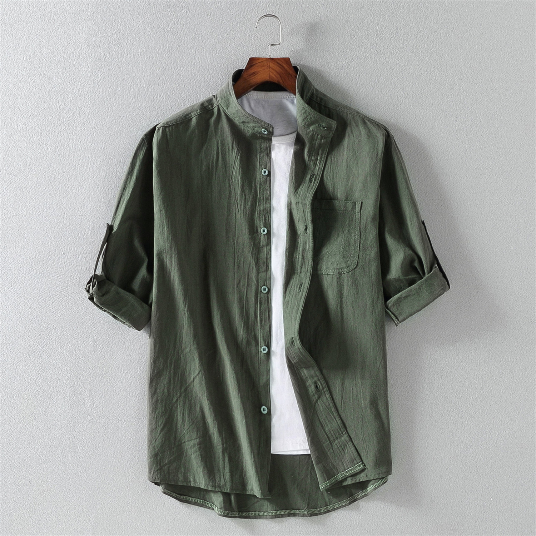 夏季棉麻7七分袖衬衫男士亚麻加大码纯色中袖韩版潮流短袖衬衣