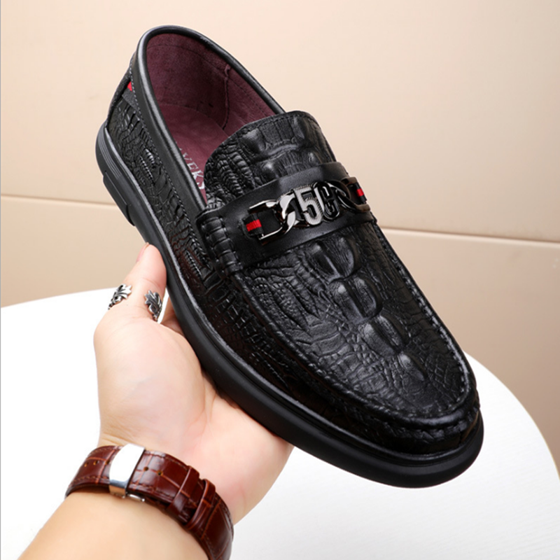 Foreign trade original single spring and autumn new round head cowhide casual mens single shoe sleeve anti slip low top Lefu shoes