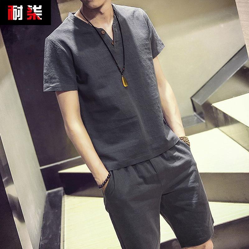 圆领夏天薄款个性男款短袖t恤套装男士成熟超薄夏季弹力黑白色男
