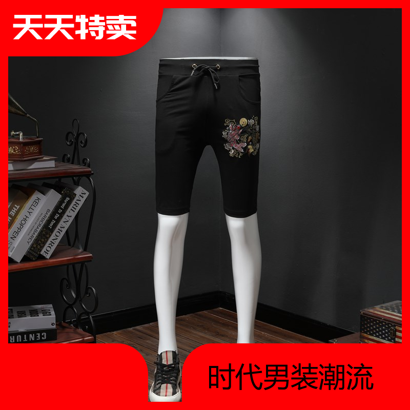 Mens casual shorts carp pattern embroidery elastic lace up slim and breathable casual pants summer comfortable pants