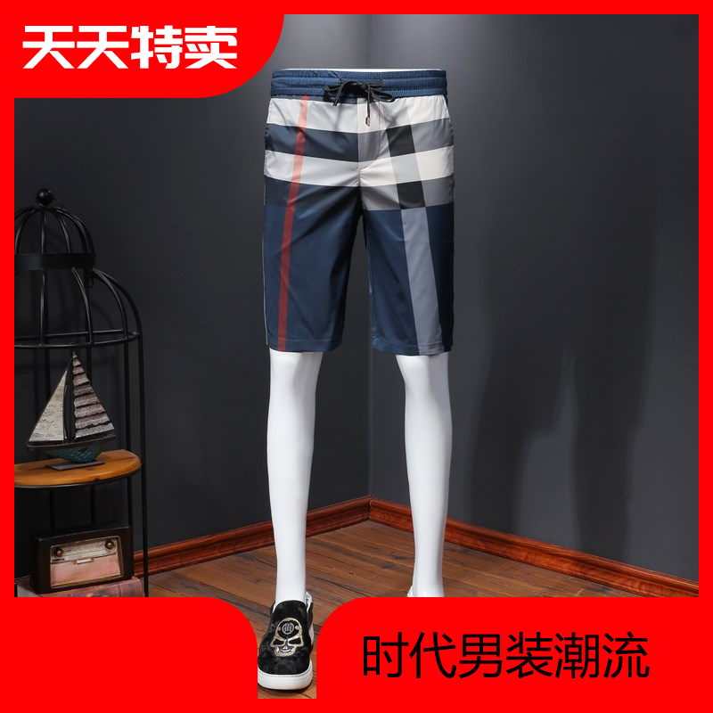 Mens shorts, casual pants, plaid pattern, thin breathable, large size slim fit mens pants, 2020 summer new pants
