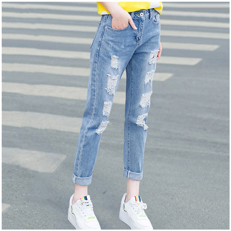Womens 2020 spring and autumn new hole jeans womens loose little feet Harun high waist straight tube nine point womens pants trend