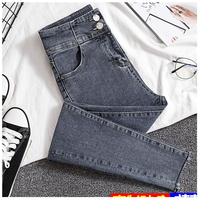 Net red jeans womens summer super high waist thin high elastic tight nine point black pants show thin high Leggings