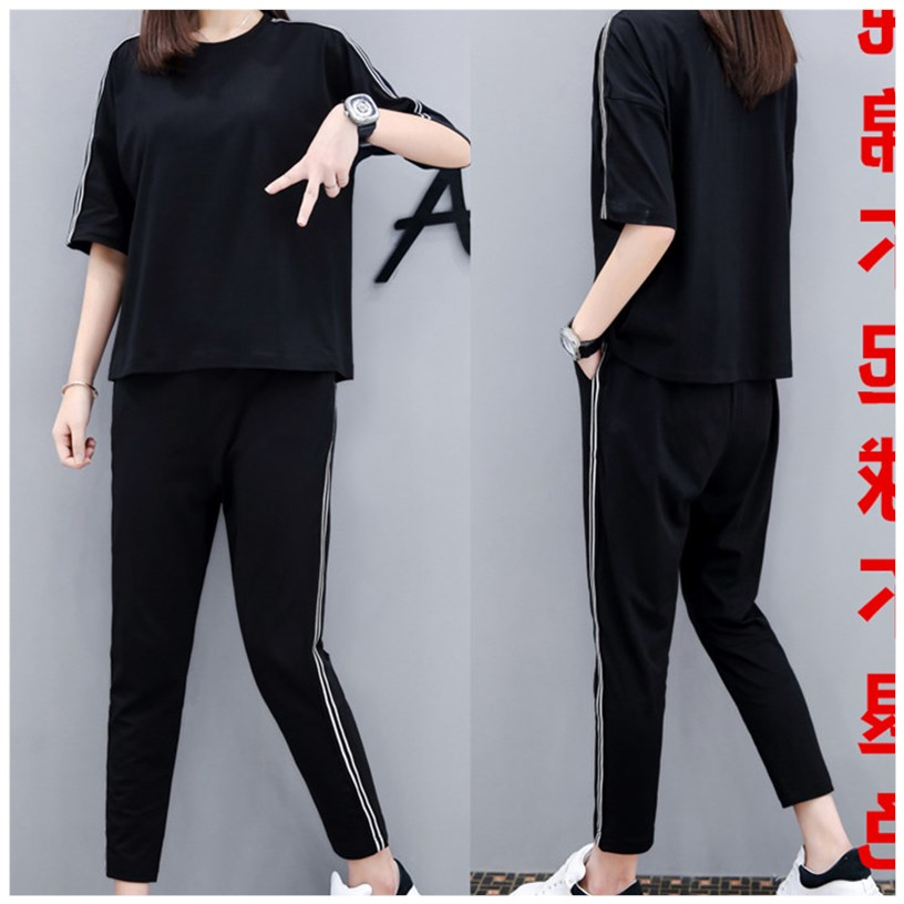 Sports suit womens cotton large casual wear summer 2020 new Capris half sleeve fashion loose two piece set