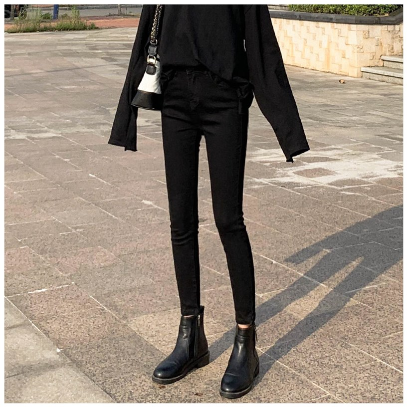 Spring 2020 new high waisted black jeans womens summer slim slim all over tight little legged pants trend
