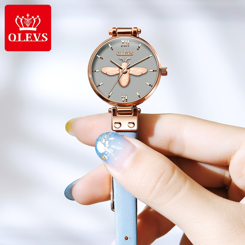 Ouli Shi student watch female simple ins style cute small delicate female watch small dial ultra thin bee relief
