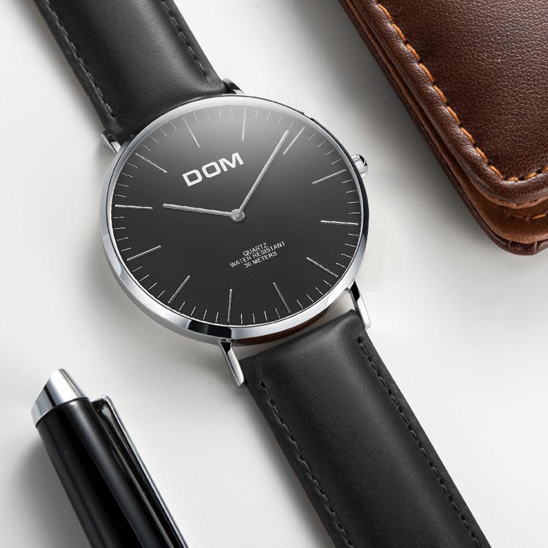 多姆男士手表时尚简约潮流防水腕表超薄款新概念无秒针石英表皮带
