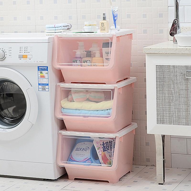 3个装 大号塑料厨房侧开式收纳箱收纳筐衣服儿童玩具零食整理箱