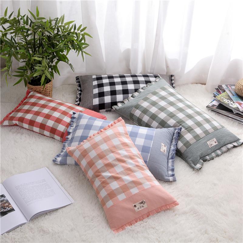 韩版田园风格子方枕纯棉布全荞麦壳小米壳水洗布枕头抱枕枕头枕芯