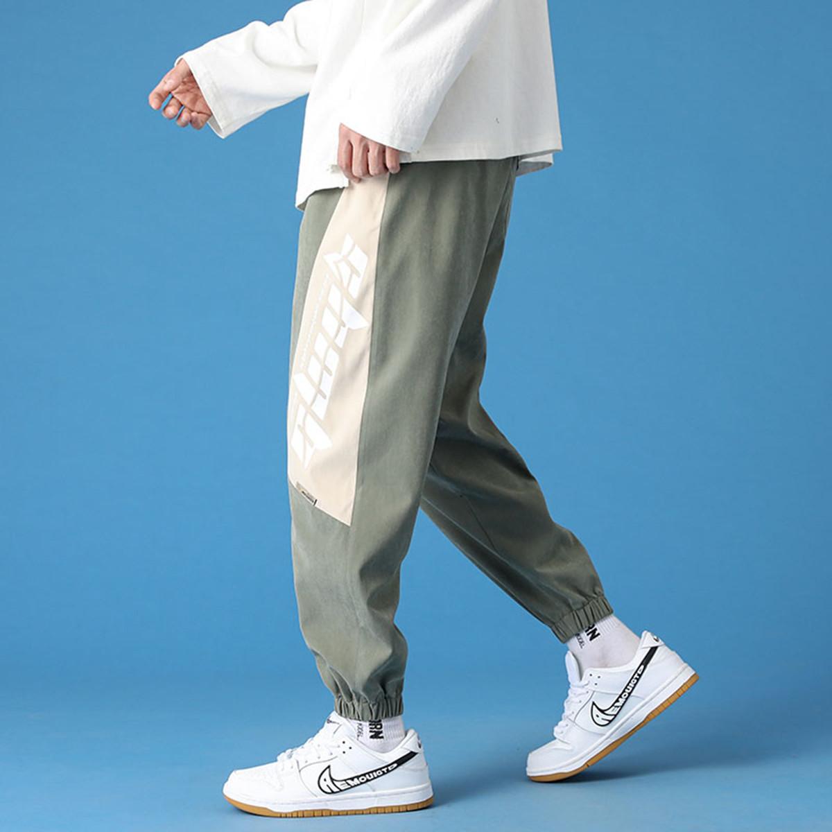 艾夫斯【拼接休闲】裤子男韩版时尚潮流长裤春款宽松弹力束脚男式