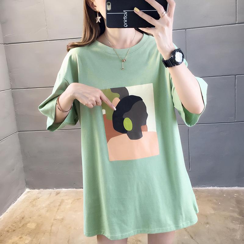 券后19.99元大码中长款宽松短袖2019新款t恤