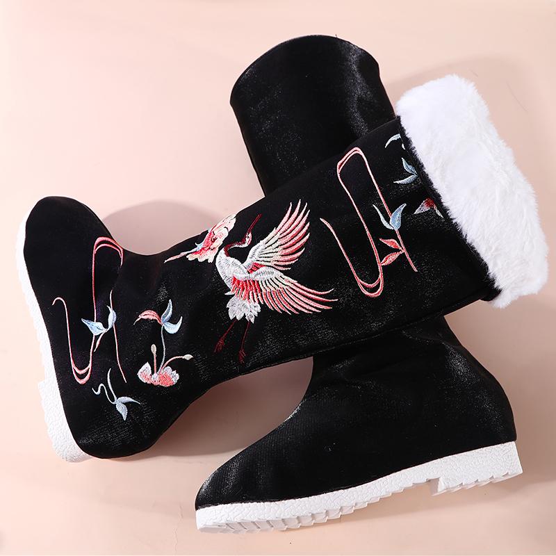 七月荷汉服靴子女绣花古风侠客汉服鞋内增高长筒古靴黑色古风靴