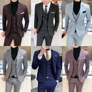 男韩版 婚礼小西装 格子西服套装 男修身 商务正装 时尚 潮流帅气 加大码