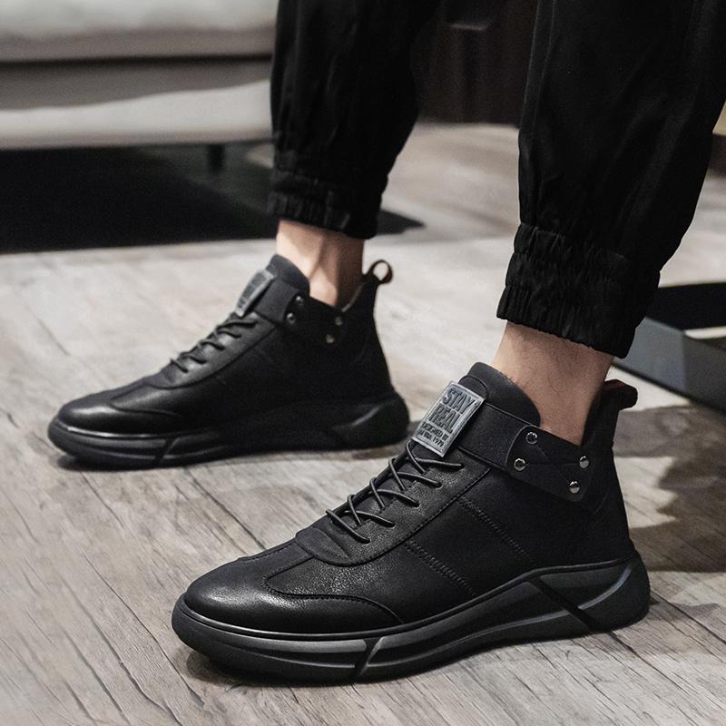 男鞋秋季2019新款百搭鞋子软底休闲鞋黑色运动鞋冬季加绒二棉鞋男