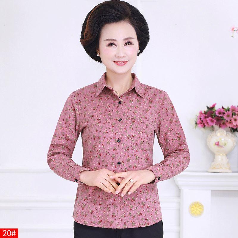 秋天40中年妇女nv妈妈装50岁左右60矮小个穿衬衫7O棉布杉称山寸衣