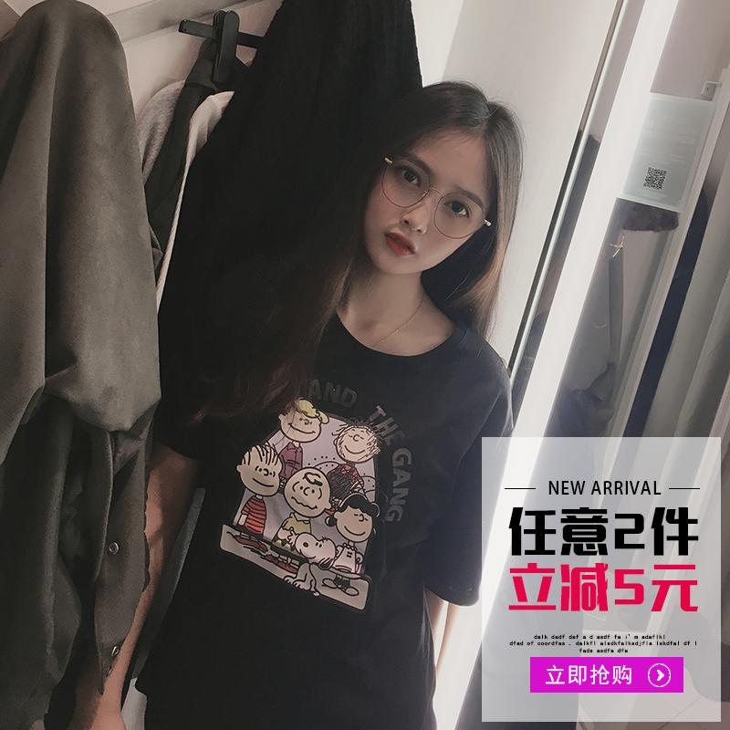 超火cec夏季短袖t恤女2019新款纯棉薄宽松卡通甜美可爱上衣ins潮