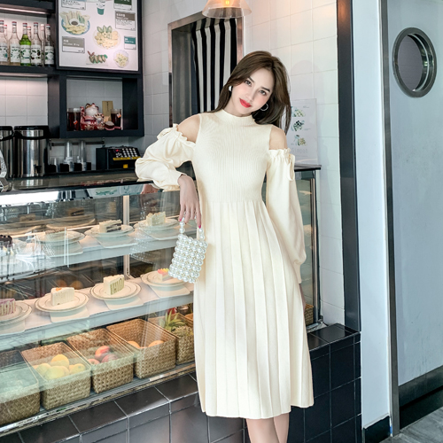 French sweater one-piece dress spring dress sexy off shoulder two shoulder hollow sleeve pleated waist knitted dress
