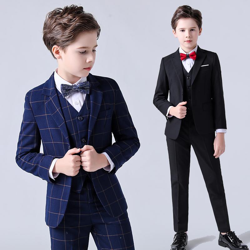 兒童西服三件套秋冬加絨加厚中大童禮服演出服帥氣男童小西裝套裝