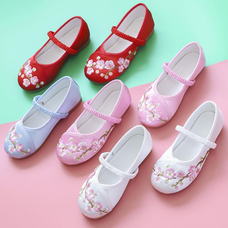 汉服鞋子女童中国风儿童绣花鞋民族古风老北京布鞋小公主古装夏季