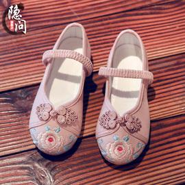女童绣花鞋古装汉服鞋子儿童中国风老北京布鞋民族古风公主舞蹈鞋