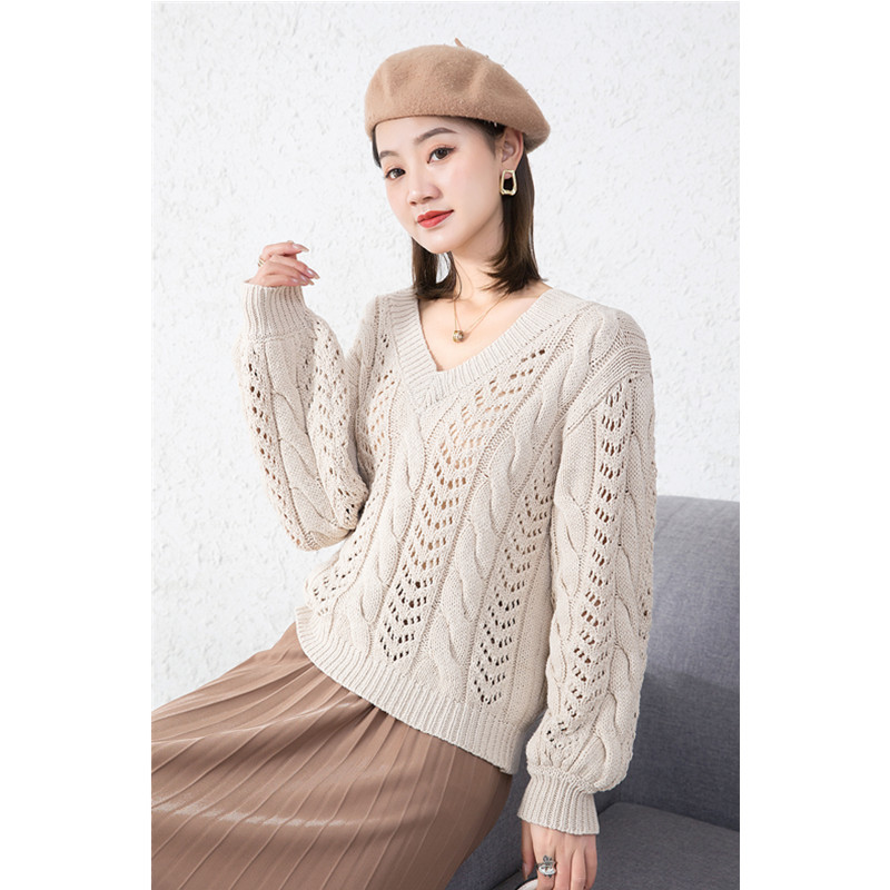 Pullover cardigan Japanese hollow V-neck loose early autumn new style soft comfortable elegant white sweater sweater